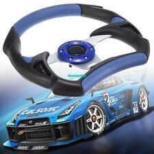 Universal PU Leather Auto Car Racing Steering Wheel Sport F1 JDM Blue+black