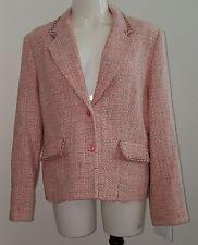 NWT Pendleton Pink Blazer Jacket 100% Silk Size 14P 14 Petite Lined White Green