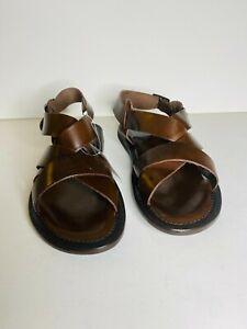 Italian leather men Sandals brown color size 42