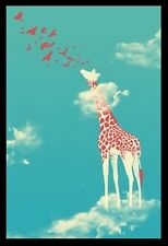(FRAMED) HEAD IN THE CLOUDS GIRAFFE POSTER 96x66cm PRINT PICTURE HOME