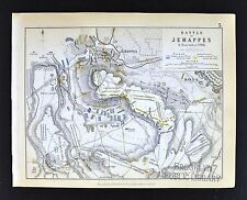 1850 Johnston Military Map - Napoleon Battle of Jemappes 1792 - Hainaut Belgium