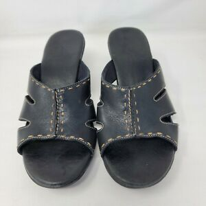 Clark's Women's Black Leather Slip On Heel Sandals Size 8.5 Mules