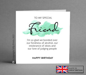 Funny Birthday card best friend gift BFF wine gin rude comedy silly humour H44