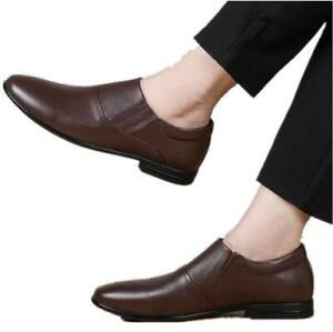 Men Leather Round Toe Formal Dress Business Slip On Flats Party Wedding Shoes sz