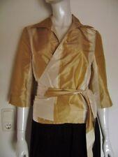 Bluse Wickelbluse 3/4 Arm Taft senfgelb-creme festlich Size XL Gr.40/42 handmade