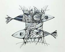 Fish / Coastal Art / Original Ink on Сardboard by Xenia Hahonina Fish Art