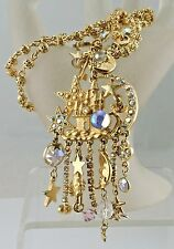 RETIRED KIRKS FOLLY NECKLACE GOLD PLATED PIXIE PALACE STAR MOON KEY AB CRYSTAL