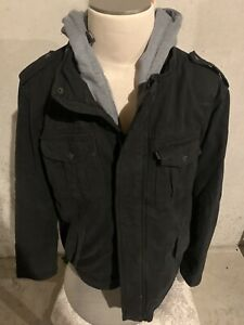 Levis Men Layered Jacket Hoodie Faded Black Gray Zip Up Size XL