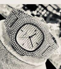 Silver HipHop Mens Watch Diamond Block Face Bling Bling Full Faux Rapper