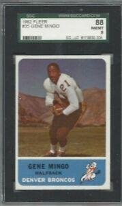 1962 Fleer football card #35 Gene Mingo, Denver Broncos graded SGC 88 NMMT 8