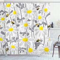 Flowers Shower Curtain Daisy Leaf Spring Time Print for Bathroom