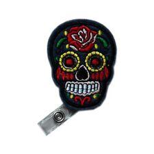 Retractable Applique Gray Skull Flower Reels ID Card Clip Nursing Badge Holder