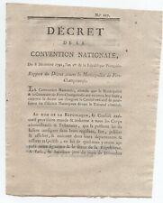 1792 DECRET MUNICIPALITE FERE CHAMPENOISE MARNE