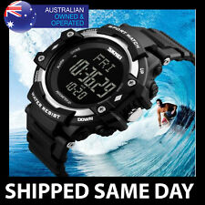 HEART RATE MONITOR PEDOMETER WATERPROOF Mens Water Resistant Digital Watch 61