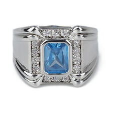 Broad Band Men's .925 Sterling Silver Ring Size 10 to 13 with Topaz Blue Stone