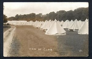 1909 RPPC ARUNDEL CAMP -- LINES OF TENTS ETC