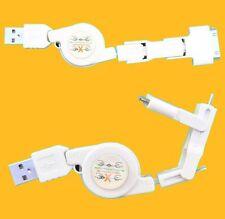 RALLONGE USB RETRACTABLE vers MiniUSB+MicroUSB+iPhone4/iPod - BLANCHE