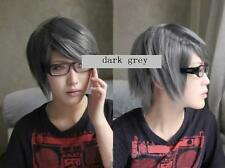 Persona 4 Narukami Yu short dark grey cosplay COS Full Wig A72