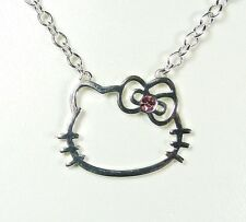 Pendentif Hello Kitty chaîne noeud coeur strass rose