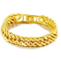 "24k Yellow Gold Mens Elegant 12mm Curb Link Chain 8"" Bracelet w Gift Pkg D747"
