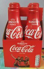 Set 4 bouteilles Coca Cola en alu Red Devils Belgium EURO 2016 + casier carton