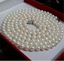 Long 35'' Natural 6-7mm White Akoya Cultured Pearl Necklace AA