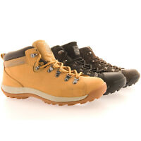 MENS GROUNDWORK LEATHER SAFETY TRAINERS SHOES BOOTS WORK STEEL TOE CAP ANKLE