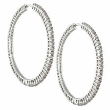 Swarovski Elements CZ Two Inch Hoop Earring  Sale 18k Gold Plated D2