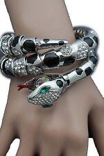 Women Bracelet Silver Metal Wrap Around Wrist Bangle Snake Head Fashion Jewelry