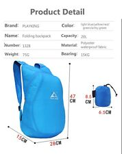Durable Waterproof Folding Packable Lightweight Travel Hiking Camping Backpack S