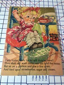 Childrens Antique Jigsaw Puzzle Nursery Rhyme Vtg Kiddie Child 16 Pc Complete E1