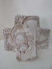 ICONA SACRA FAMIGLIA forma CROCE pasta di marmo 7,5x7,5 BOMBONIERA idea regalo