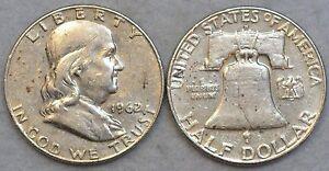1 Benjamin Franklin Random Year Silver Half Dollar 90% No Junk * Liberty Bell *