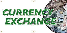 Currency Exchange Vinyl Display Banner with Grommets, 3'Hx6'W, Full Color