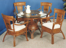 "American Rattan Indoor Wicker Dining Set w/42"" Glass Top Blue Stripe Cushions"