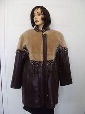 ~SHOWROOM NEW SHEARED BEAVER FUR & LEATHER JACKET COAT WOMEN WOMAN SIZE 8 MEDIUM