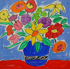 Sally Huss Signed Original Hand Painted Print Bright Yellow Floral Still Life
