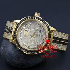 Gold Tone Black Onyx Real Diamond Dial Solid Steel Custom Bezel Band Mens Watch