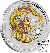 2012 Year of the Dragon 1oz Silver Yellow Coloured Coin - Melbourne ANDA Show