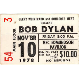 BOB DYLAN Concert Ticket Stub SEATTLE WA 11/10/78 STREET-LEGAL TOUR Rare