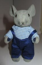 "Toy Craft Poseable Mouse Felt 4 3/4"" Decorations Christmas Plaid Shirt Overalls"