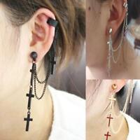 Gothic Rock Punk Cross Long Tassel Chain Ear Wrap Cuff Stud Clip Earring