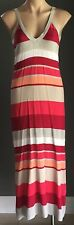 Boho Hippy Chic Multi Colour Stripe WITCHERY Sleeveless Knit Maxi Dress Size 14
