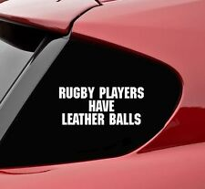 Rugby players have leather balls vinyl decal sticker bumper funny sport truck