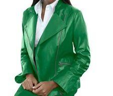 Women's winter fall100% genuine soft leather moto jacket coat plus size 28W 3X