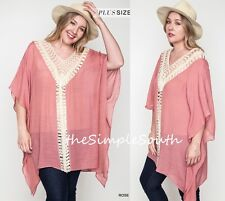 NWT UMGEE Rose Pink Long Mineral Wash Lace Ruffle Hem Drapey Tunic Tank Top XL