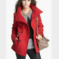 Nordstrom THREAD & SUPPLY Red Wool Blend Pea Coat Size Large