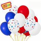 115PCS Patriotic Decorations Star Latex Balloons - Red Blue White - Fourth of