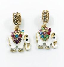 6 pcs  Elephant Crystal European Gold Pendant Charm Beads Fit Necklace Bracelet