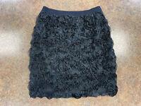 Isaac Mizrah Live Women Black Floral Applique Short Cocktail Mini Skirt Size S